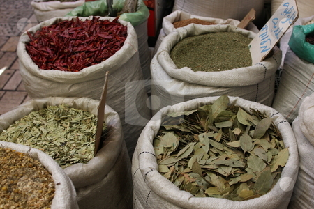 Spices and herbs in a Jerusalem market stock photo,  by Chris Budd