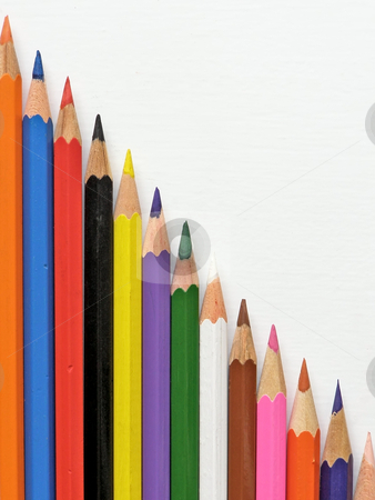 Multicolored pencils stock photo, Row of multicolored pencils by Sergej Razvodovskij