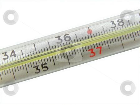 Thermometer stock photo, Thermometer point normal temperature by Sergej Razvodovskij