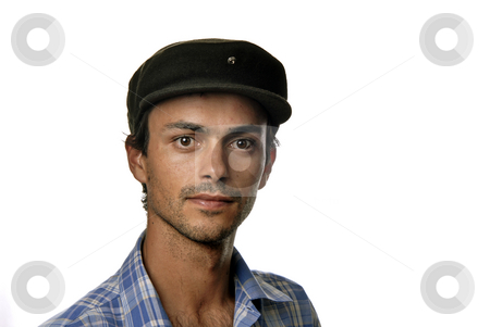 Indian stock photo, Casual man portrait with hat in white background by Rui Vale de Sousa