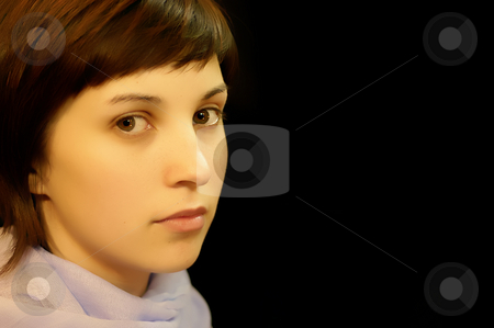 Portrait stock photo, Sad casual young woman portrait in black background by Rui Vale de Sousa