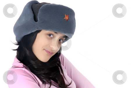 Portrait stock photo, Young girl with a russian hat portrait by Rui Vale de Sousa