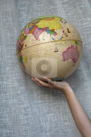 Globe stock photo, World globe detail in a woman hand by Rui Vale de Sousa