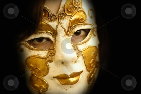 Mask stock photo, Woman with a venice mask in a dark place by Rui Vale de Sousa