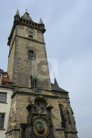 Clock tower stock photo, Ancient clock tower in the old town of prague by Rui Vale de Sousa