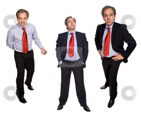 Mature stock photo, Mature businessman in different positions, isolated on white by Rui Vale de Sousa
