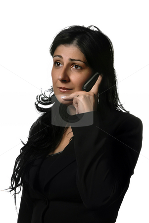 Calling stock photo, Young business woman on the phone isolated on white by Rui Vale de Sousa