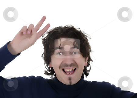 Portrait stock photo, Young caucasian man silly in a white background by Rui Vale de Sousa