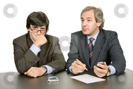Working stock photo, Business team working at a desk, isolated on white by Rui Vale de Sousa