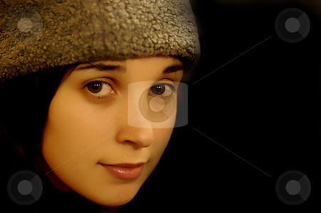 Face stock photo, Young casual woman portrait in a black background by Rui Vale de Sousa