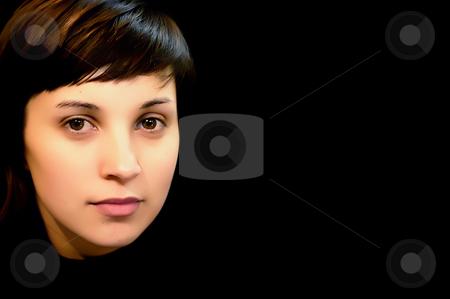 Portrait stock photo, Young casual woman portrait in a dark background by Rui Vale de Sousa