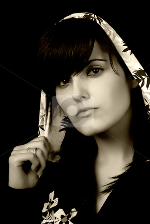 Portrait stock photo, Young beautiful brunette portrait toned, some grain filter by Rui Vale de Sousa
