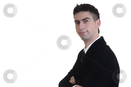 Stand stock photo, Happy young business man alone in white background by Rui Vale de Sousa