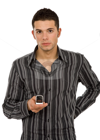 Phone stock photo, Young casual man on the phone, isolated on white by Rui Vale de Sousa