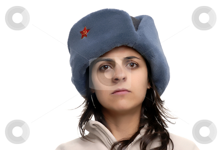 Russian hat stock photo, Young girl with a russian hat portrait by Rui Vale de Sousa