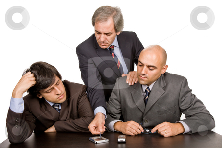 Meeting stock photo, Group of workers on a meeting, isolated on white by Rui Vale de Sousa