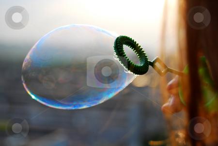 Soap bubbles  stock photo, Soap bubbles in the sunset by Leyla Akhundova