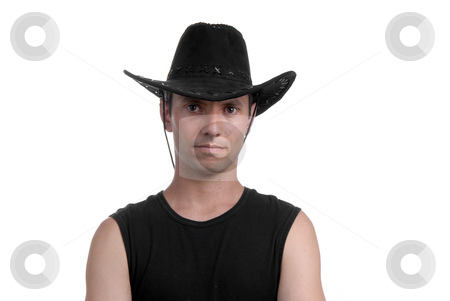 Cowboy stock photo, Young man portrait with hat cowboy isolated by Rui Vale de Sousa