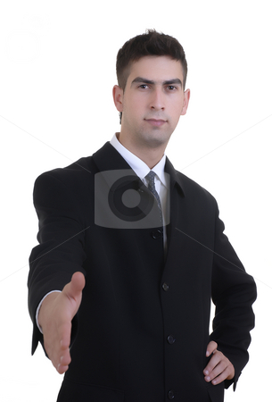 Hand stock photo, Young man offering hand in white background by Rui Vale de Sousa