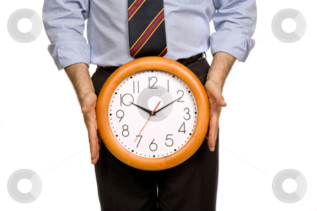 Clock stock photo, Businessman body parts with a clock covering him by Rui Vale de Sousa