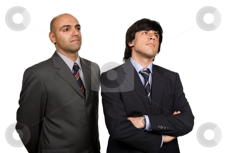 Two businessmen stock photo, Two young business men portrait on white by Rui Vale de Sousa