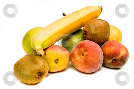 Fruits stock photo, Set of different fruits isolated on white by Rui Vale de Sousa