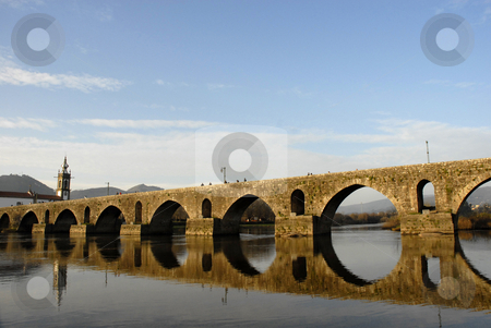 Ancient stock photo, Bridge and church of Ponte de Lima em Portugal by Rui Vale de Sousa