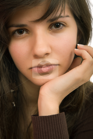 Woman stock photo, Young beautiful pensive woman close up portrait by Rui Vale de Sousa