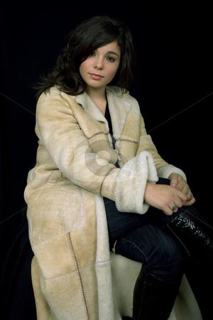 Beautiful stock photo, Young beautiful brunette portrait against black background by Rui Vale de Sousa