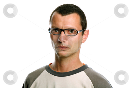 Serious stock photo, Young casual man portrait isolated on white by Rui Vale de Sousa