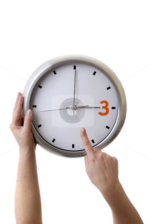 Clock stock photo, Woman hands with a clock isolated in white background by Rui Vale de Sousa