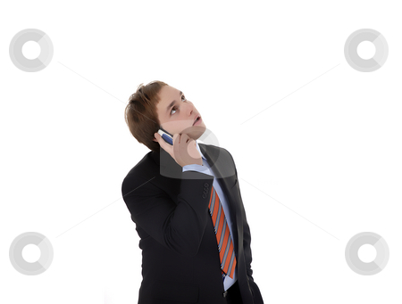 Calling stock photo, Young business man on the phone isolated on white by Rui Vale de Sousa