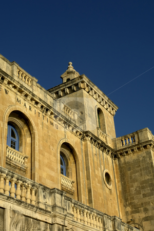 Church stock photo, Ancient church tower of malta cathedral detail by Rui Vale de Sousa