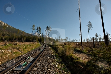 Cable railway stock photo, Cable railway track in mountains with grass and trees and blue sky by Juraj Kovacik