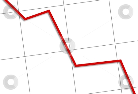Statistic Down stock photo, White chart with a red line going down. by Henrik Lehnerer