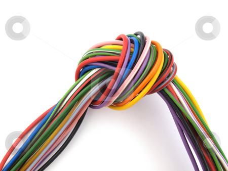 Close up of multicoloured wire stock photo, Close up of multicoloured six amp electrical wire by Ian Langley