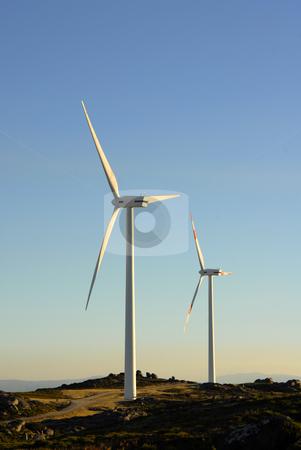 Turbines stock photo, White wind turbine in the top of the mountain by Rui Vale de Sousa