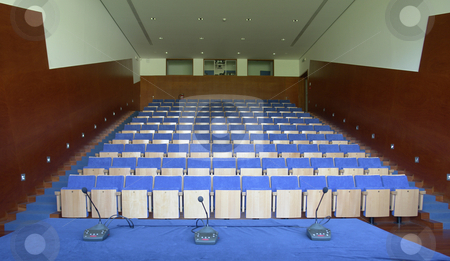 Auditorium stock photo, Modern auditorium, view from the stage. Focus on the chairs by Rui Vale de Sousa