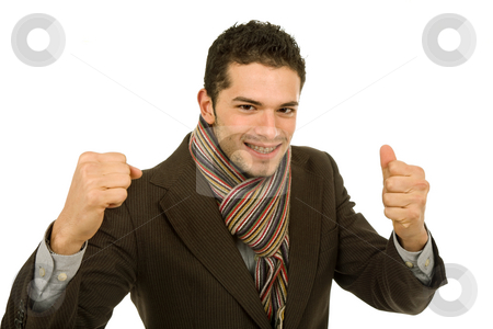 Victory stock photo, Happy young man with open arms isolated on white by Rui Vale de Sousa