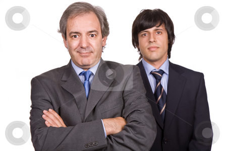 Businessmen stock photo, Two young business men portrait, focus on the left man by Rui Vale de Sousa
