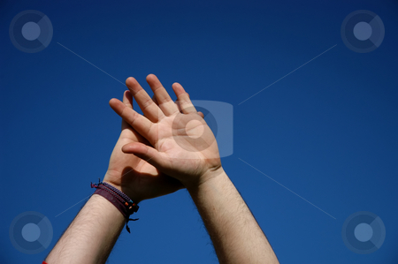 Hands stock photo, Male hands together and the sky as background by Rui Vale de Sousa