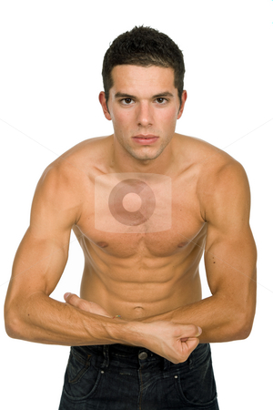 Strong stock photo, Young sensual man on a white background by Rui Vale de Sousa