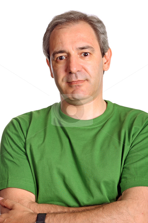 Portrait stock photo, Mature casual man portrait, isolated on white by Rui Vale de Sousa
