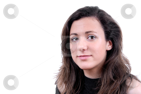 Girl stock photo, Close-up of a beautiful face isolated on white by Rui Vale de Sousa
