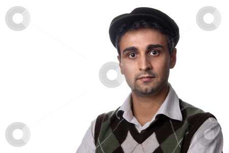 Portrait stock photo, Casual man portrait with hat in white background by Rui Vale de Sousa