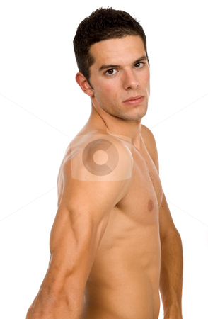 Naked man stock photo, Young casual naked man isolated on white by Rui Vale de Sousa