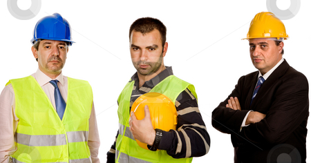 Workers stock photo, Three workers isolated in a white background by Rui Vale de Sousa