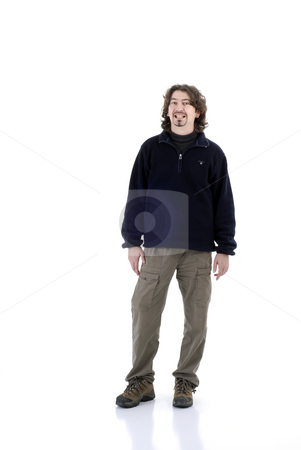 Silly stock photo, Young crazy man having fun in white background by Rui Vale de Sousa