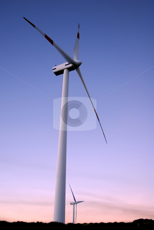 Wind farm stock photo, Two eolic generators in a wind farm by Rui Vale de Sousa
