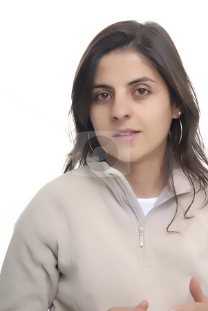 Portrait stock photo, Young casual woman portrait in a white background by Rui Vale de Sousa